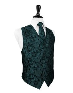 Jade Tapestry Tuxedo Vest Jade Tuxedo Vest 5 Button Front Luxurious Premier Satin Fabric Tapestry Pattern Faux Besom Pockets Full Back Design Back of Vest:White Available with Matching Jade Bow Tie or Long Tie Available in Long Sizes for Gentleman 6'1 Sizes: