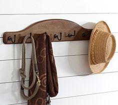 wood plaque row of hooks potterybarn
