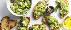 broadbean, avocado and feta  on bread