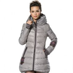 Women's Stylish Stand Double Collar Slimming Back Belt Hooded Zip-up Mid-length Down Jacket