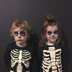 Easy kids skeleton makeup for halloween trick or treating