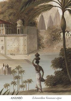 wallpaper Echantillon paysage sepia - Echantillon Varanasi sépia 60x80cm - ultra mat