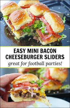 If you need an easy but tasty party dish to feed a crowd, try these bacon cheeseburger sliders. Crumbled, ground beef, cheddar cheese and bacon topped with your favorite hamburger toppings. These also make a fun dinner for the family! Thanksgiving Appetizers, Yummy Appetizers, Appetizer Recipes, Best Beef Recipes, Pizza Recipes, Keto Recipes, Hamburger Toppings, Cheeseburger Sliders, Party Dishes