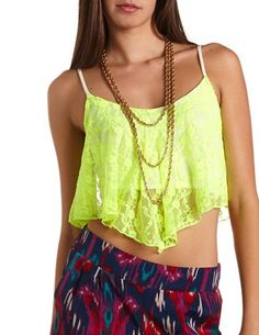 Lace Flutter Crop Tank #neon #Festival #style http://www.studentrate.com/itp/get-itp-student-deals/Charlotte-Russe-10percent-Student-Discount--/0