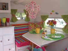 colorful camper interior - cute!