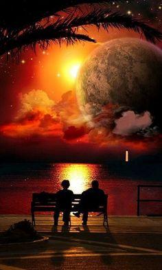 Nezaket Efe Landscape Pictures, Nature Pictures, Cool Pictures, Beautiful Pictures, Beautiful Fantasy Art, Beautiful Moon, Amazing Sunsets, Amazing Nature, Moon Photography