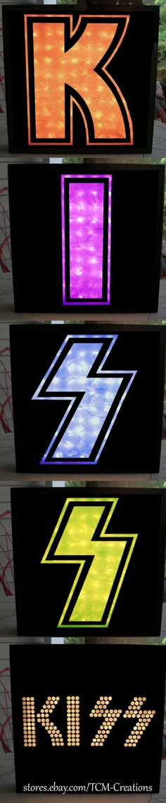 Kiss Shadow Boxes with LED lighting. Gene Simmons, Paul Stanley, Ace Frehley, Peter Criss, Vinnie Vincent, Mark St. John, Bruce Kulick, Tommy Thayer, Eric Carr, Eric Singer, Hotter than Hell, Dressed To Kill, Alive, Destroyer, Rock N Roll Over, Dynasty, Unmasked, Creatures Of The Night, The Elder, Lick It Up, Animalize, Asylum, Crazy Nights, Hot In The Shade, Revenge, Monster, Sonic Boom, Psycho Circus