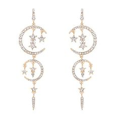 $9.90---Temperament Of Fashion Long Stars And The Moon Diamond Earrings (Gold)