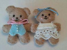 felt bears     teddy, doll, dolls, dollhouse, house, plush, fabric, toy