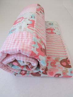 Pink Elephant Patchwork Blanket with Stripes by LovesLittleStitch  I LOVE this Blanket!!!
