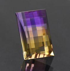 Ametrine Quartz Gemstone, Bolivia, 11.59 carats.  Faceted by Allyce Kosnar.