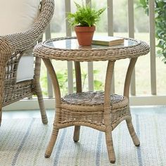 The Lynwood Wicker Side Table at Birch Lane. Round Wicker Chair, Wicker Side Table, Patio Side Table, Round Side Table, Rustic Outdoor Side Tables, Wicker Furniture, Office Furniture, Traditional Furniture, Furniture Making