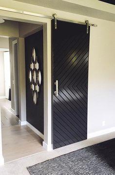 Modern Closet Doors, Modern Garage Doors, Barn Door Closet, Modern Sliding Doors, Barn Doors, Barn Door To Bathroom, Modern Barn, Modern Farmhouse, Farmhouse Door