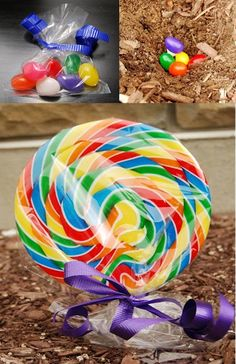 Magic jelly beans planted before Easter grow into a huge lollipop.  #easter #jellybeans #lollipop