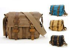 Men Canvas Vintage Leather Messenger School Book Bag Crossbody Handbag Satchel