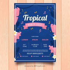 Party festival poster with plants Free Vector