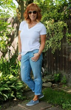 Boyfriend Jeans, White Tee, Layered Necklaces And Striped Slip On Sneakers