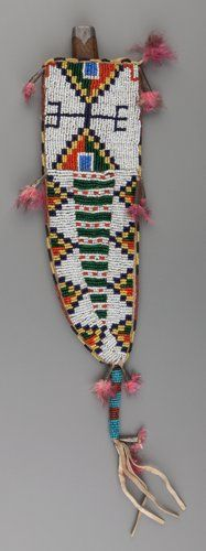 American Indian Art:Beadwork and Quillwork, A Sioux Beaded Hide Knife Sheath and Knife. c. 1900...