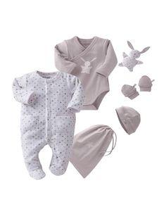 cf68264051b1 Kit 5 pièces et sac bébé nouveau né LAVANDE CLAIR+ROSE POUDRE+BLANC -