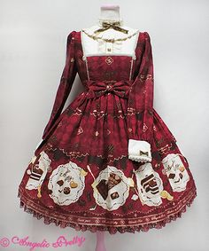 Angelic Pretty USA Antique Chocolaterie One Piece - Wine - [Material] Original print Amundsen Cotton)Crepe de Chine Polyester)[Lace]Tulle LaceSynthetic Lace[Size]Length: about (Lace included)Bust: about about width: about length: about + LaceCuff: About Girls Fashion Clothes, Women's Fashion Dresses, Girl Outfits, Cute Outfits, Harajuku Fashion, Lolita Fashion, Cute Fashion, Girl Fashion, Mode Lolita