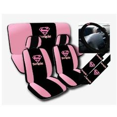 New SuperHero Car Front Back Seat Covers Steering Wheel Cover Shoulder Pads Set Girly Car Seat Covers, Bucket Seat Covers, Bench Seat Covers, Car Accessories For Women, Jeep Accessories, Gif Disney, Car Interior Decor, Seat Protector, Cute Cars