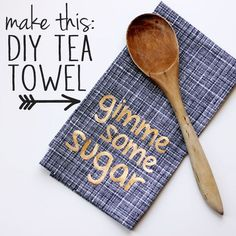 Sew your own DIY tea towels and embellish them with cute sayings. A super easy project - perfect for sewing beginners!