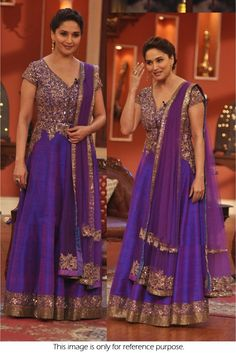 Get a custom made celebrity gowns & Dresses from Runway Fashion. The Gown shown was worn by a popular actress of Indian Cinema Madhuri Dixit in Comedy Nights Mode Bollywood, Bollywood Dress, Pakistani Dresses, Bollywood Fashion, Indian Dresses, Indian Outfits, Bollywood Style, Indian Clothes, Eid Clothes