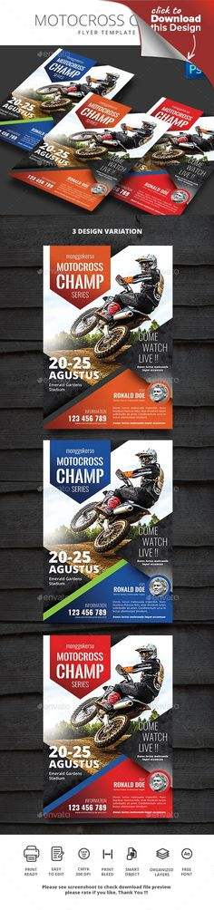 adventure, bike, black, blue, bmx, champ, championship, dirt, dirty, downhill, events, extreme, flyer, grunge, hot road, motocross, poster, race, racing, red, skateboard, speedway, sport, stadium, surfing, template, texture, tournament Motocross Champ Flyer File Features : Size A4 210×290mm + Bleed area CMYK / 300 dpi Easy to edit text Well organized PSD file 3 Alternative colors Change image via smart objects Photos are not included Please see screenshoot to check download file preview…