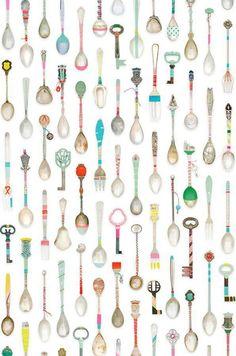 Teaspoons | Papel pintado cocina | Papeles pintados extra | Papeles de los 70