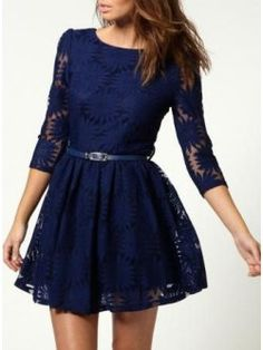 Blue Three Quarter Sleeve Lace Dress