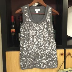 """""""Never Let Anyone Dull Your SPARKLE"""" Gorgeous sequence tank from Ann Taylor Loft. This a very unique piece as it is as comfy as wearing pajamas but looks like a million bucks. I loved it paired with jeans, heels and a bright blazer for concerts, but wore it with business attire often. Fits like a relaxed small. PERFECT condition. Ann Taylor Tops Tank Tops"""