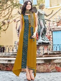 Dazzle Mustard & Blue Rayon Kurti with Printed Stole - Iranian Women Fashion, Indian Fashion, Silk Anarkali Suits, Kurti Sleeves Design, Eastern Dresses, Kurta Style, Combo Dress, Batik Dress, Indian Wedding Outfits