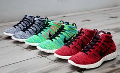 We present a close-up look at a trio of Nike Lunar Flyknit Chukkas for Fall 2013, each utilizing a classic mid-top silhouette to showcase Nike's featherweight Flyknit technology and Lunarlon cushioning. The available colorways — Black/White, Blue Glow/Volt and Deep Burgundy/Bright Crimson — offer something for everyone, … READ MORE