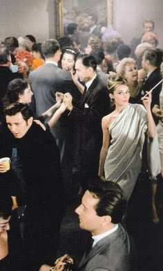 Audrey Hepburn in Breakfast At Tiffany's. The famous party scene. 1961. Now that's a cocktail party!