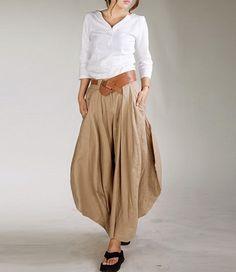 Color sólido Irregular dobladillo falda lino.