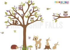 Forest Animals Decal, Nursery Decal, Deer, Bunny, Hedgehog, Squirrel, Owl Decal, Friendship Falls decal, Purple Rush Scene