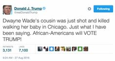 Donald Trump's tweet about Dwyane Wade's cousin. (Screenshot…