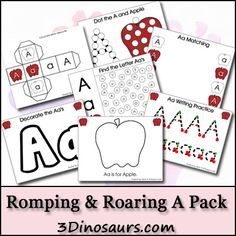 FREE Romping & Roaring Letter A Printable Pack + 40% Off Additional Packs from 3 Dinosaurs