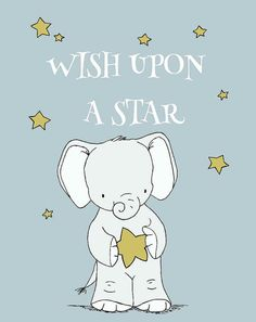 Elephant Nursery Art  Wish Upon A Star   by SweetMelodyDesigns, $10.00