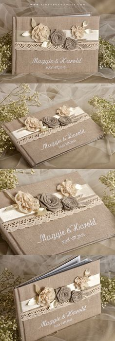 Wedding Guest Book with lace & flowers #countrywedding #rustic #shabbychic