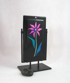 Fused Glass Sculpture  Neon Pink Daisy by AlteredElementsGlass, $85.00