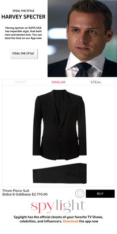Harvey Specter's Style on Suits USA. Now, you can steal the style from your favorite TV shows, Celebs, and Influencers. Favorite Tv Shows, Your Favorite, Suits Usa, Harvey Specter, Three Piece Suit, Celebs, Celebrities, That Look, Blazer