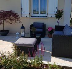 Salon de jardin en résine tressée et aluminium 5 places-Noir/Ecru ...
