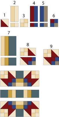 Game Cocks Quilt Block Pattern