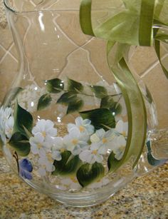 Hand Painted Glass Pitcher Spring White Flowers and Butterflies