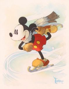 """Inspiration Series On Ice 1935"" by Toby Bluth - Original Watercolor on Paper, 11x8.5.  #Disney #MickeyMouse #DisneyFineArt #TobyBluth"