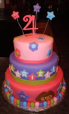 bday cake ideas on Pinterest | Dora Birthday Cake, Dora Cake and Butterfly Theme Party