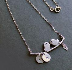 Sterling Silver Jewelry Necklace  Love Birds by NewMorningJewelry, $29.50