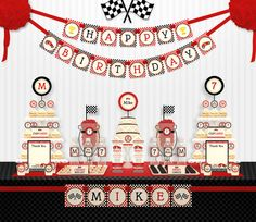 Red Racing Car Birthday Party Package Personalized by leelaaloo, $39.00
