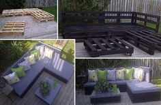 Outdoor Furniture: Sofa and coffee table made for recycled pallets. Use exterior paint or stain to finish,